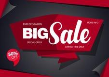 销售横幅模板与红色的设计黑色 图库摄影