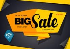 销售横幅模板设计黑色和黄色 库存图片