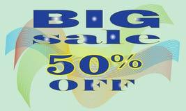 销售横幅模板设计,大销售专辑50%  r 免版税库存照片