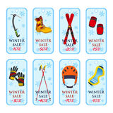 销售横幅,优惠券,运动器材的冬天销售 平的样式 库存图片