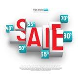 销售海报或横幅与立方体和百分之在白色背景 库存照片