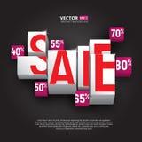 销售海报或横幅与立方体和百分之在黑背景 免版税库存图片