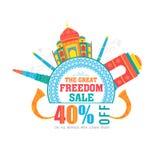 销售海报或横幅印地安人的美国独立日 免版税库存照片