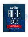 销售海报或横幅美国人美国独立日庆祝的 免版税库存照片