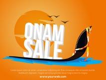 销售海报,横幅,与3D文本的飞行物Onam的 向量例证