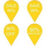 销售用销售标记90%在贴纸标记的文本 库存图片
