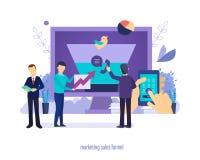 销售的销售漏斗 创作转换的过程,引起企业主角 向量例证