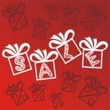 销售礼物红色背景 免版税库存图片