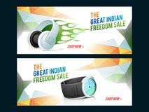 销售网倒栽跳水或横幅印地安人的美国独立日 图库摄影