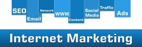 销售蓝色条纹横幅的互联网 免版税库存照片