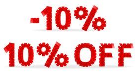 10%销售被折叠的纸标志 库存图片