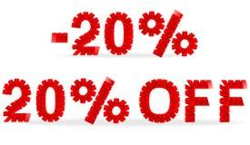 20%销售被折叠的纸标志 免版税图库摄影
