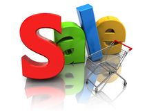 销售额和购物车 免版税库存照片