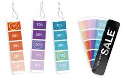 销售额多种百分比的颜色样片 免版税库存照片