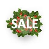 销售额 冬青树 愉快的圣诞节背景! 免版税库存图片