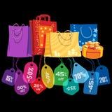 销售额 袋子和价牌 免版税图库摄影