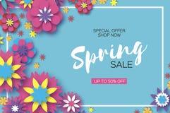 销售额 Origami春天五颜六色的花横幅 纸被切开的花卉贺卡 杜娟花开花浅关闭dof的花出现 长方形框架 愉快 向量例证