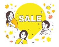 销售,秋天销售的例证,购物与女朋友 皇族释放例证