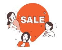 销售,秋天销售的例证,购物与女朋友 库存例证