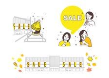 销售,秋天销售的期间的例证,购物与女朋友 库存例证