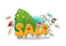 销售滑稽的字符:冬天销售 背景圣诞节女孩愉快的销售额购物白色 新的销售额年 免版税库存图片
