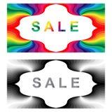 销售Labes 单色和五颜六色的销售标签 免版税库存图片