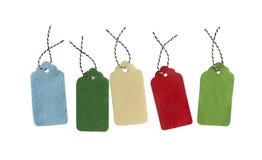 销售tage 套颜色在白色背景隔绝的礼物标记 图库摄影