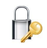 锁与在白色隔绝的钥匙 库存图片