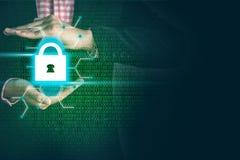 锁代码重要企业信息的安全,概念数据保密 免版税库存图片