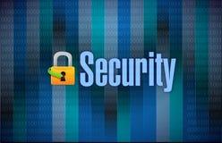 锁和安全二进制黑暗的背景 免版税图库摄影