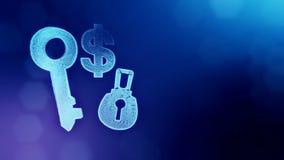 锁和钥匙美元的符号和象征  光亮微粒财务背景  3D与景深的圈动画 向量例证