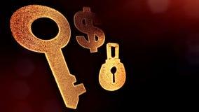 锁和钥匙美元的符号和象征  光亮微粒财务背景  3D与景深的圈动画 库存例证