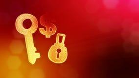 锁和钥匙美元的符号和象征  光亮微粒财务背景  3D与景深的圈动画 股票录像