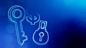 锁和钥匙美元的符号和象征  光亮微粒财务背景  3D与深度的无缝的动画  向量例证