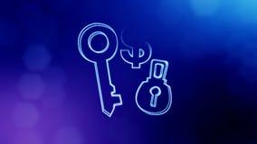 锁和钥匙美元的符号和象征  光亮微粒财务背景  3D与深度的无缝的动画  皇族释放例证