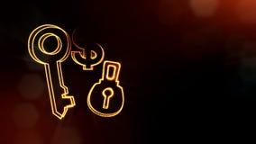 锁和钥匙美元的符号和象征  光亮微粒财务背景  3D与深度的无缝的动画  股票视频