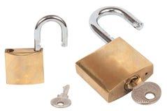 锁和钥匙(与裁减路线) 免版税库存图片