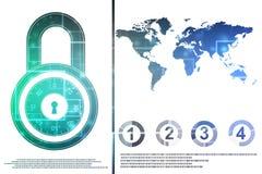 锁在数字式背景、网络安全和互联网安全 库存例证