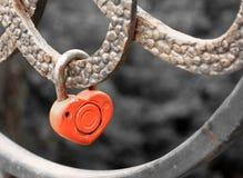锁在桥梁栏杆的心脏形状-新娘和新郎愉快和长的结婚的生活的标志  免版税库存图片