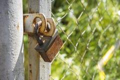 锁在篱芭 库存照片
