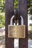 锁在金属门 免版税库存图片