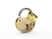 锁定和婚戒 库存图片