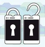 锁着和开锁的巧妙的电话 免版税库存照片