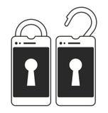 锁着和开锁的巧妙的电话 免版税库存图片
