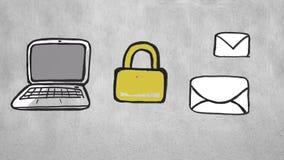 锁着的膝上型计算机和消息 库存例证