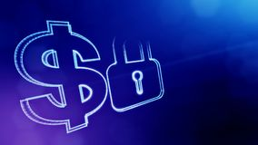 锁美元的符号和象征  光亮微粒财务背景  3D与景深的圈动画, bokeh 皇族释放例证