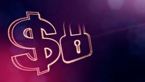 锁美元的符号和象征  光亮微粒财务背景  3D与景深的圈动画, bokeh 库存例证