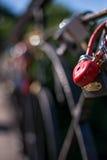 锁以心脏的形式是红色的,垂悬在其他锁旁边 垂直的框架 免版税库存照片