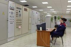 锅炉植物帕纳斯的控制站在圣彼德堡,俄罗斯 免版税库存照片