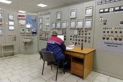 锅炉植物帕纳斯的控制站在圣彼德堡,俄罗斯 库存照片